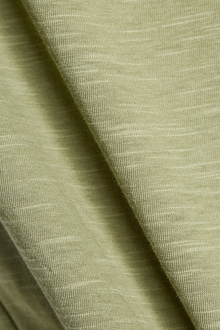 T-shirt with button plackets, organic cotton, LIGHT KHAKI, detail image number 4