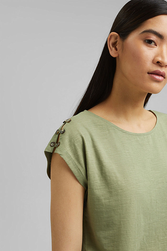 T-shirt with button plackets, organic cotton, LIGHT KHAKI, detail image number 6