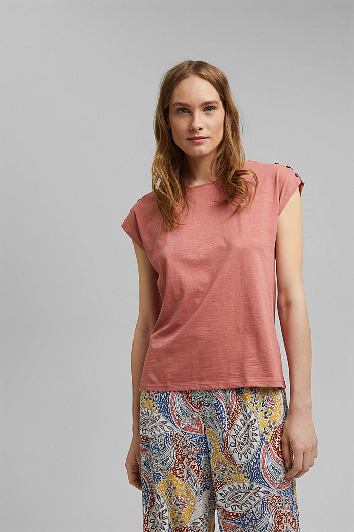 T-shirt with button plackets, organic cotton, BLUSH, detail image number 0