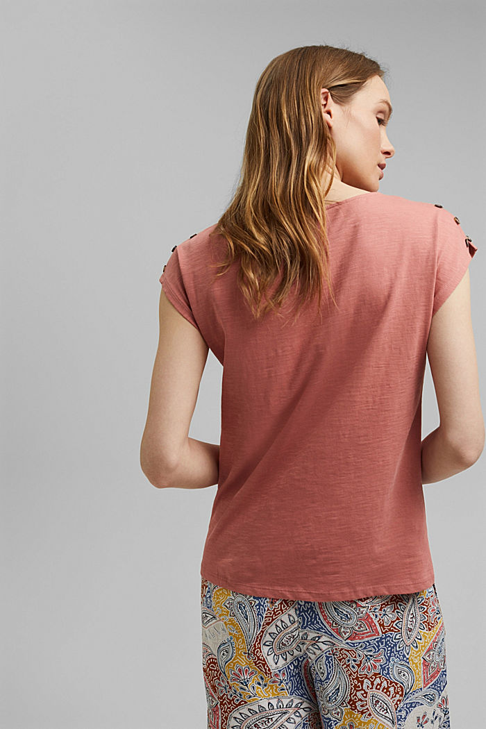 T-shirt with button plackets, organic cotton, BLUSH, detail image number 3