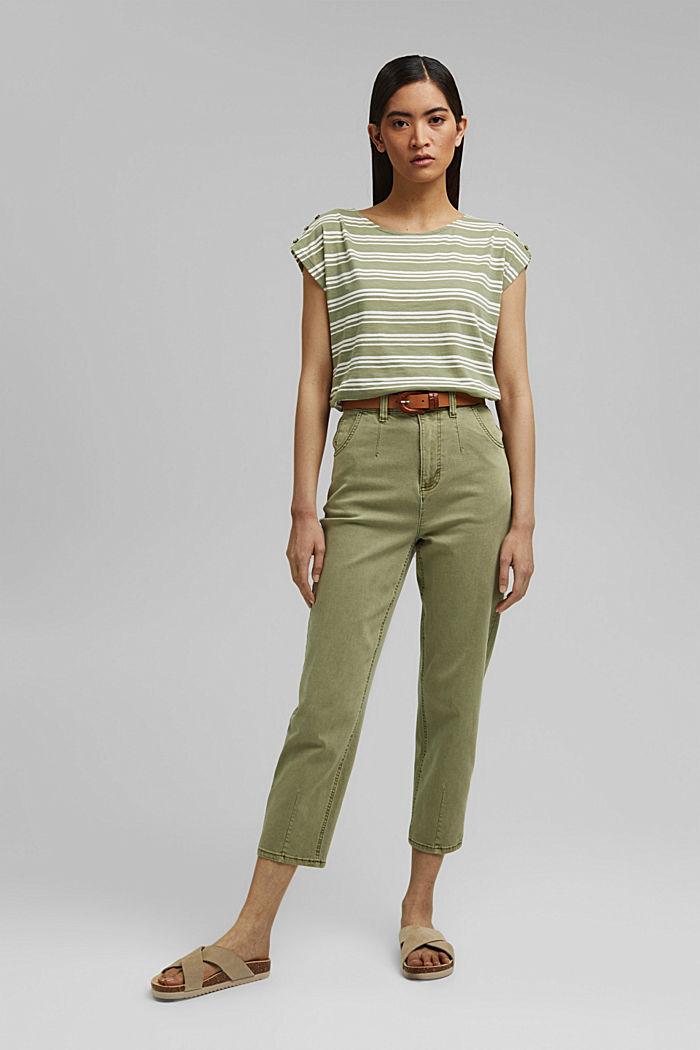 Tričko s knoflíkovými légami, bio bavlna, LIGHT KHAKI, detail image number 1