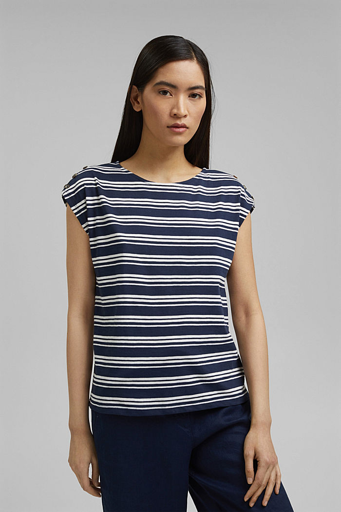 T-shirt with button plackets, organic cotton, NAVY, detail image number 0