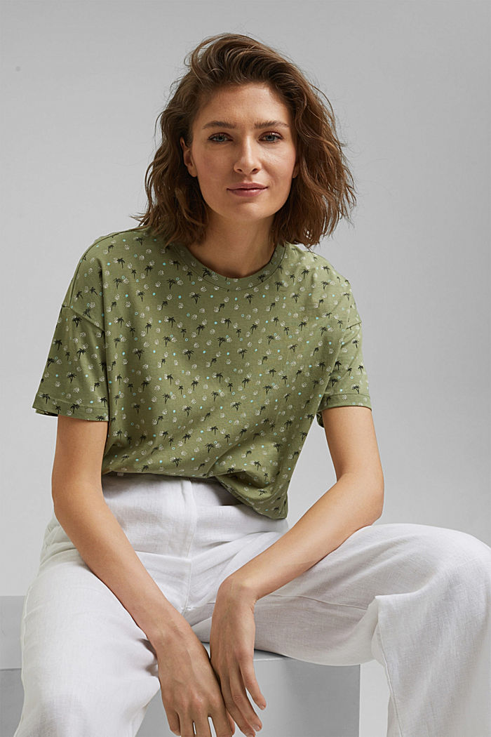 Printed T-shirt made of 100% organic cotton, LIGHT KHAKI, detail image number 5