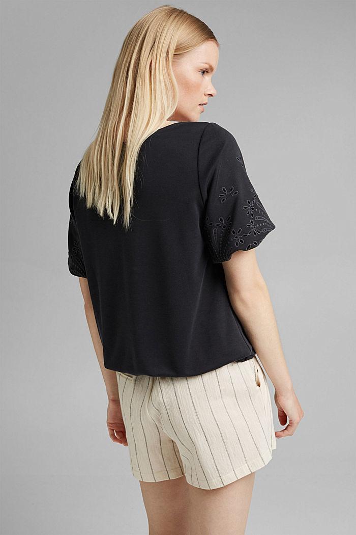 Tričko s dírkovanou výšivkou a rýšky, BLACK, detail image number 3