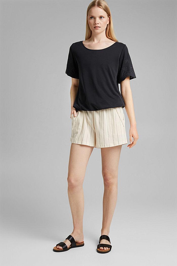 Tričko s dírkovanou výšivkou a rýšky, BLACK, detail image number 1
