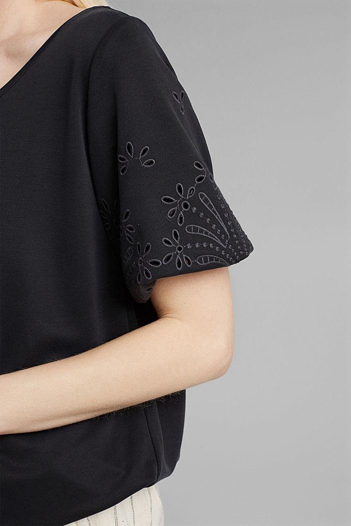 Tričko s dírkovanou výšivkou a rýšky, BLACK, detail image number 2