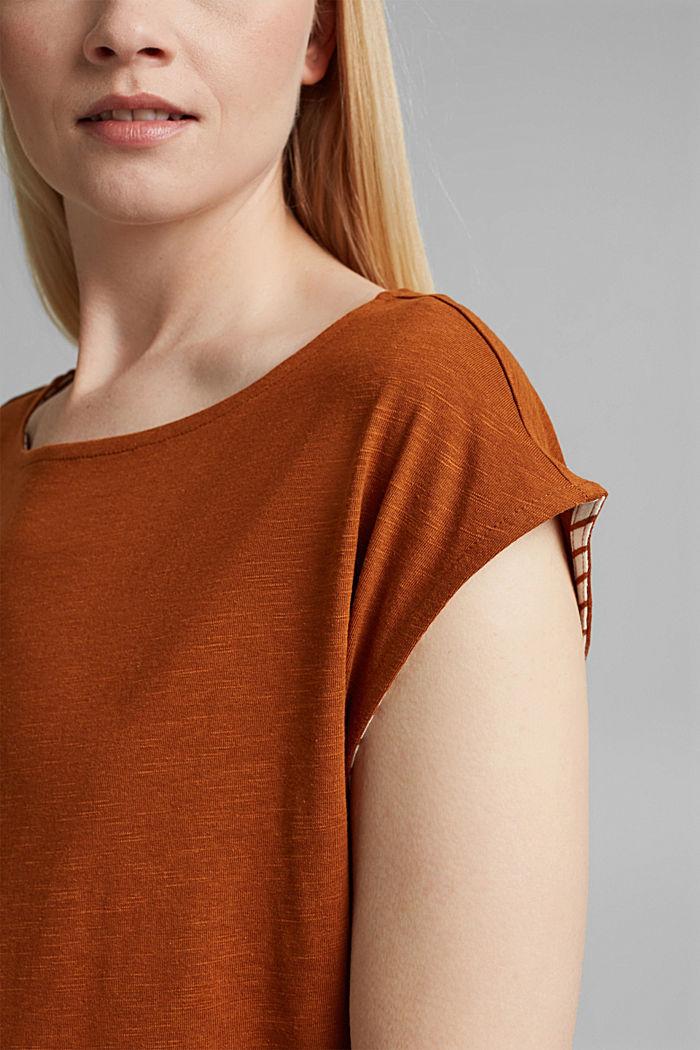 Kerrostettu T-paita luomupuuvillasekoitetta, CARAMEL, detail image number 5