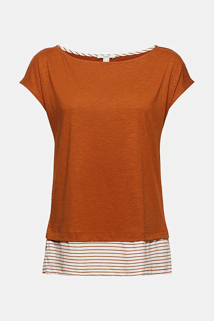 Camiseta con diseño de capas, mezcla de algodón ecológico