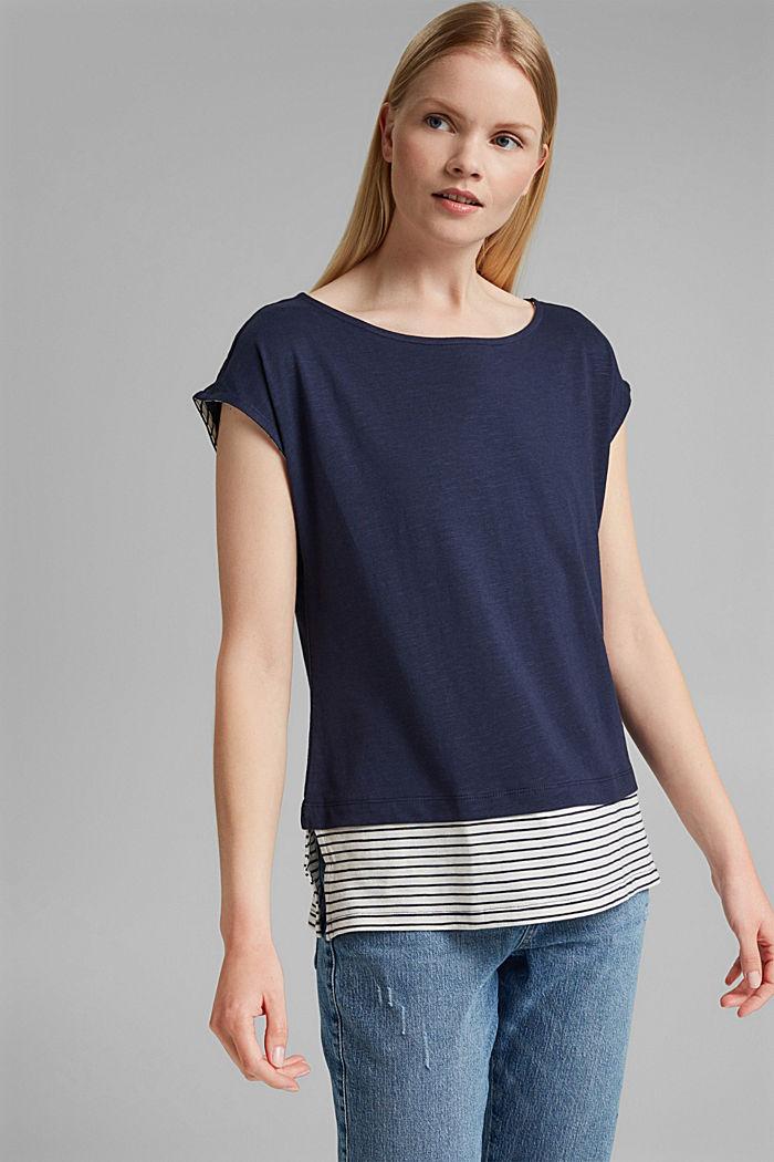Tričko ve vrstveném vzhledu, směs bio bavlny, NAVY, detail image number 0