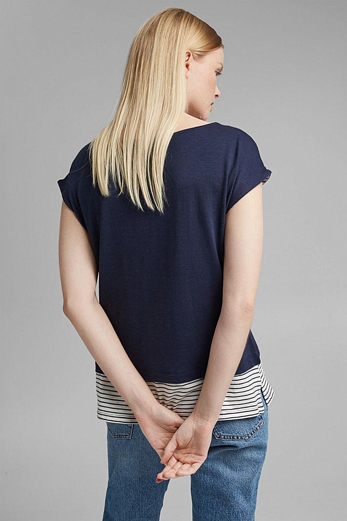 Tričko ve vrstveném vzhledu, směs bio bavlny, NAVY, detail image number 3