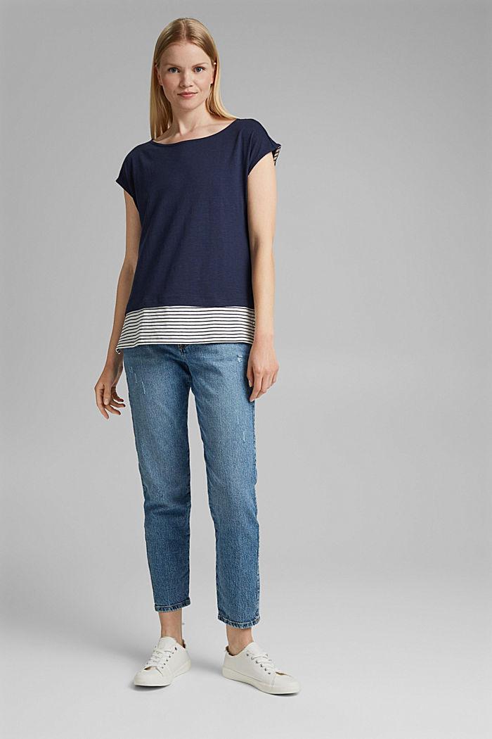 Tričko ve vrstveném vzhledu, směs bio bavlny, NAVY, detail image number 1
