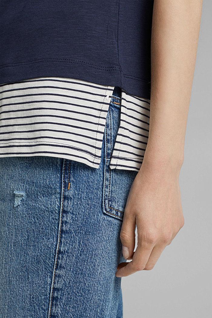 Tričko ve vrstveném vzhledu, směs bio bavlny, NAVY, detail image number 5