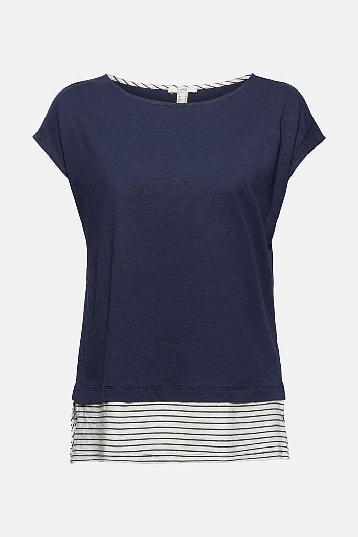 Tričko ve vrstveném vzhledu, směs bio bavlny, NAVY, detail image number 6