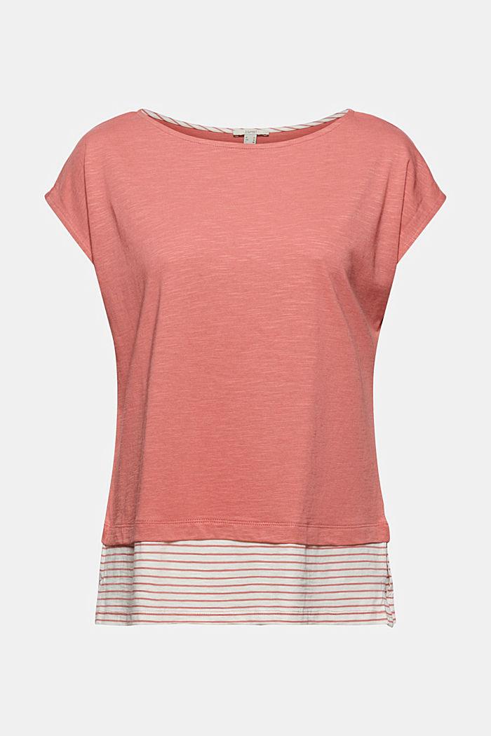 Kerrostettu T-paita luomupuuvillasekoitetta, BLUSH, detail image number 5