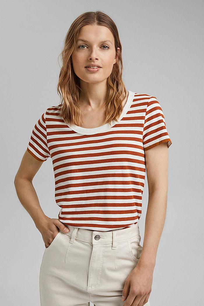 T-Shirt mit Streifen, Organic Cotton Mix, CARAMEL, detail image number 0