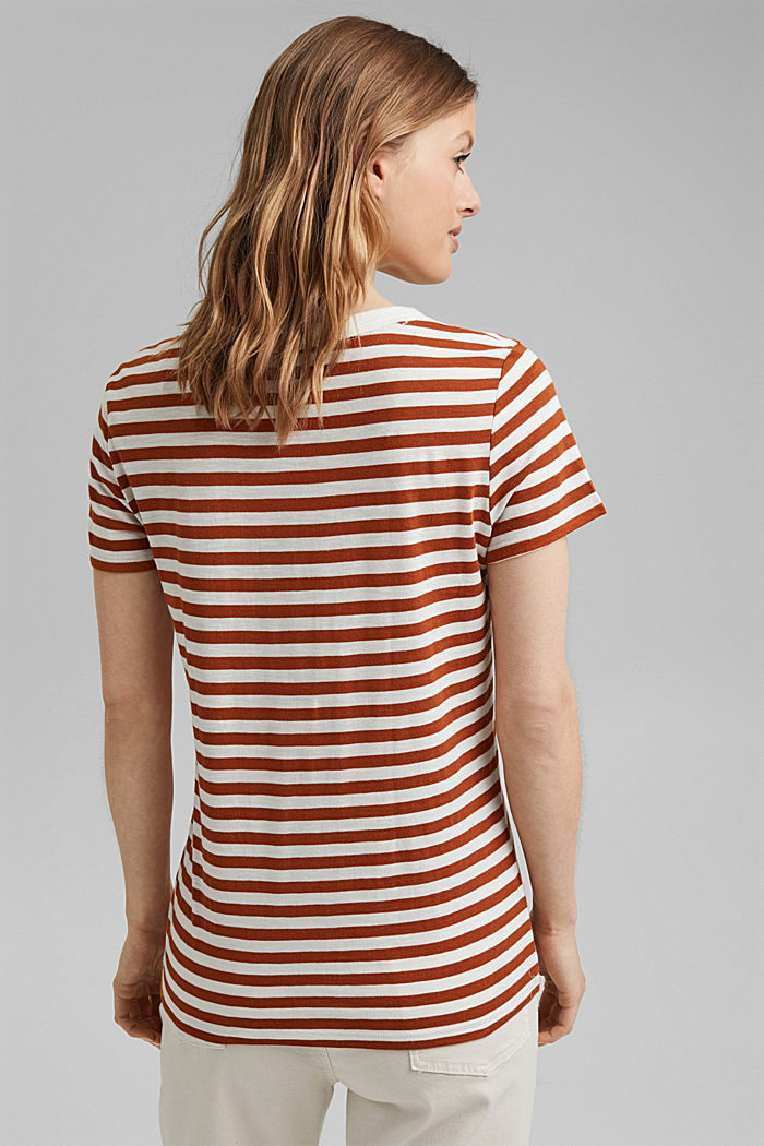 T-Shirt mit Streifen, Organic Cotton Mix, CARAMEL, detail image number 3