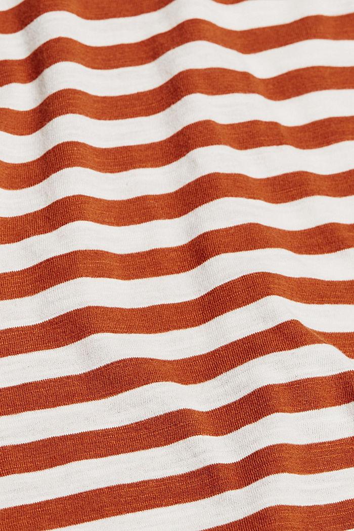 T-Shirt mit Streifen, Organic Cotton Mix, CARAMEL, detail image number 4