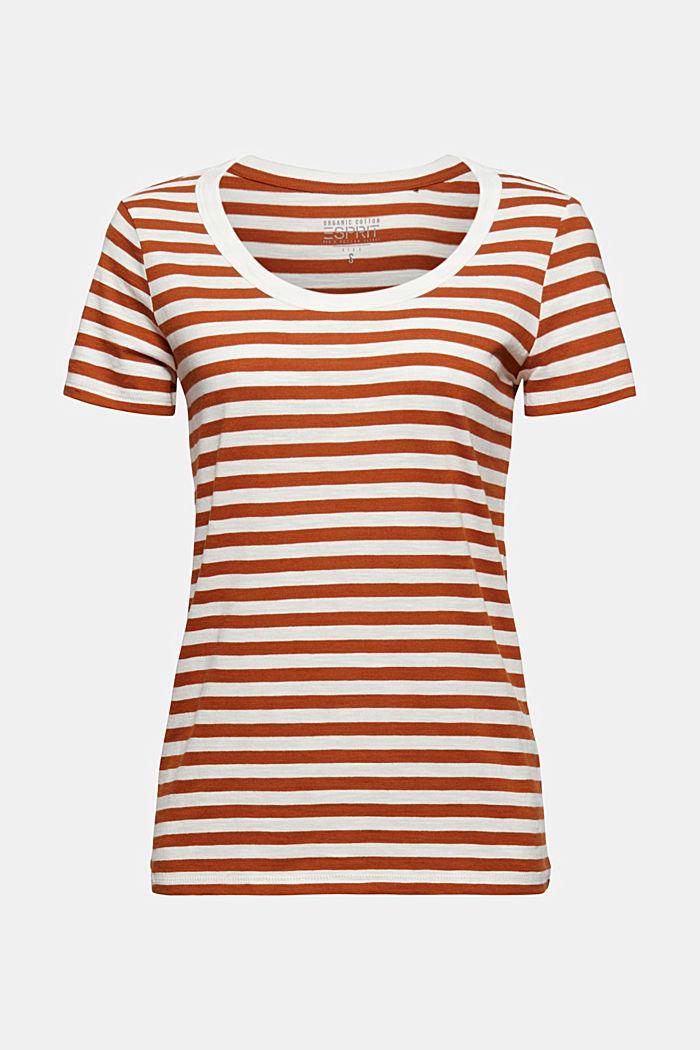 T-Shirt mit Streifen, Organic Cotton Mix, CARAMEL, detail image number 5