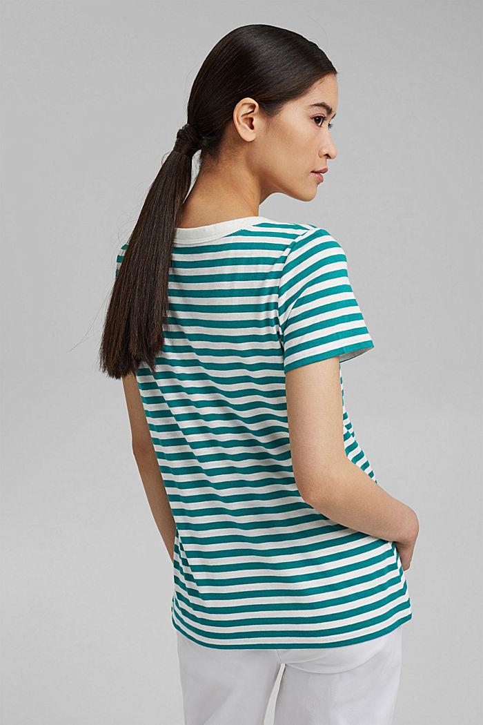 Striped T-shirt, organic cotton blend, TEAL GREEN, detail image number 3