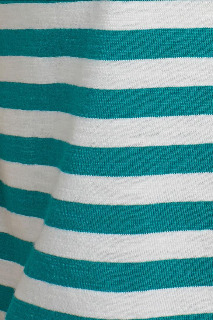 Striped T-shirt, organic cotton blend, TEAL GREEN, detail image number 4
