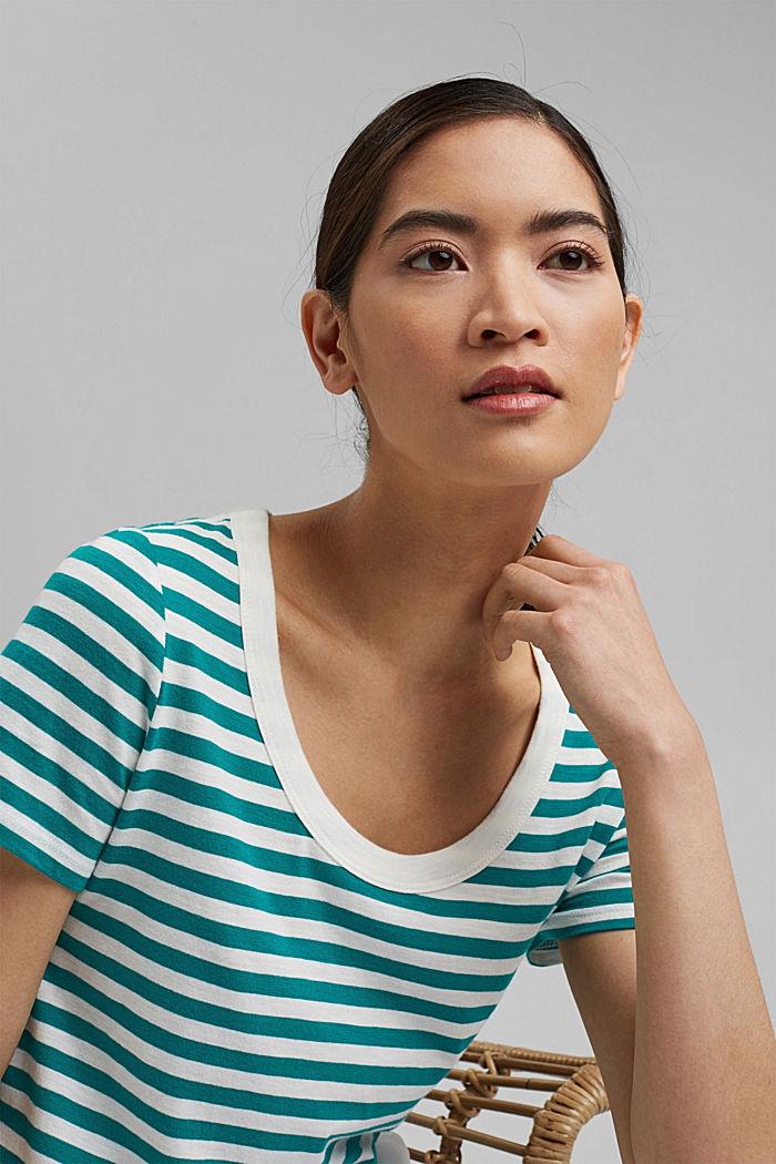 Striped T-shirt, organic cotton blend, TEAL GREEN, detail image number 6