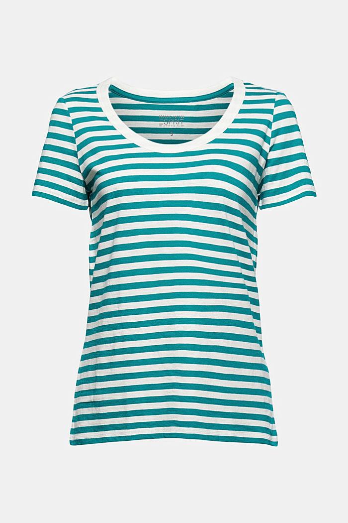 Striped T-shirt, organic cotton blend, TEAL GREEN, detail image number 7