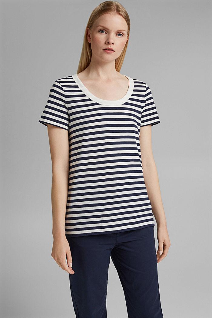 Tričko s proužky, směs bio bavlny, NAVY, detail image number 0