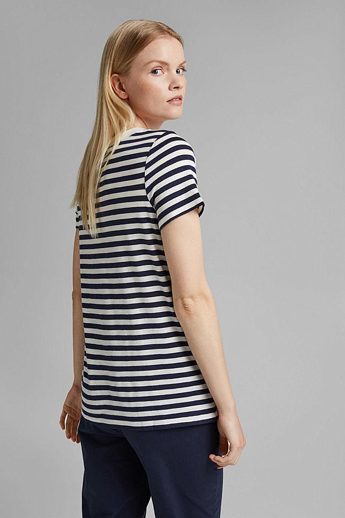 Tričko s proužky, směs bio bavlny, NAVY, detail image number 3