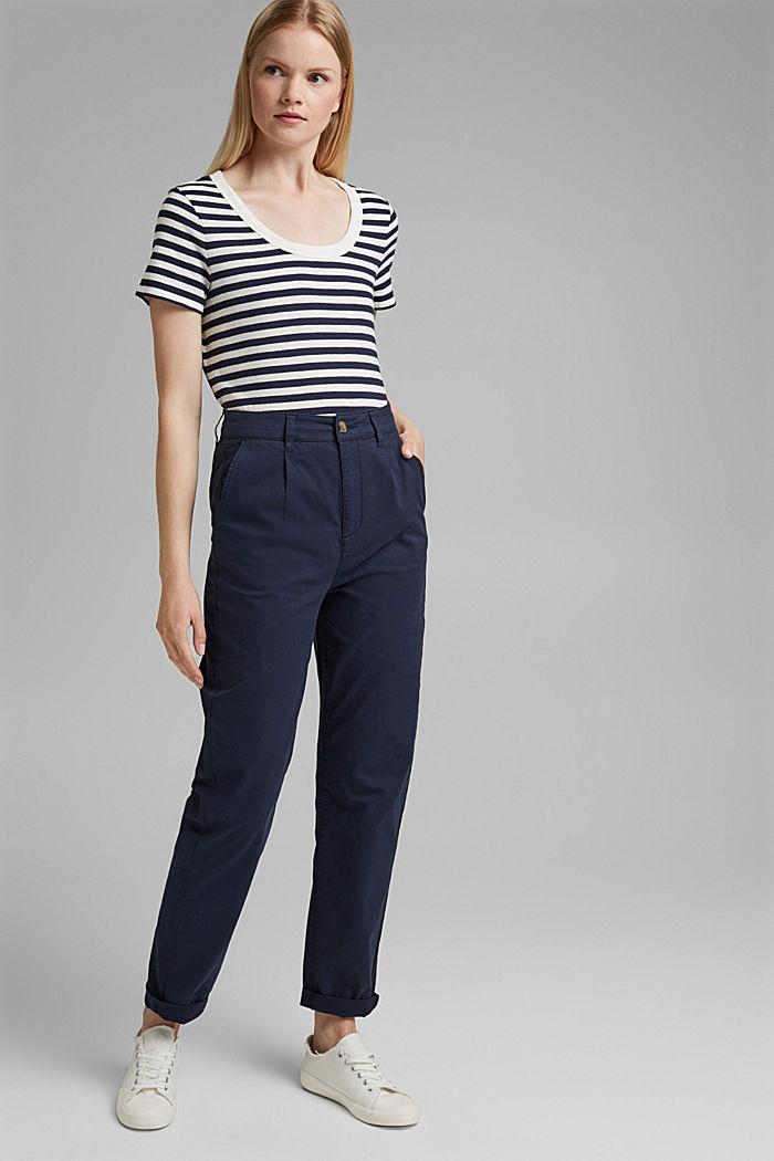 Tričko s proužky, směs bio bavlny, NAVY, detail image number 1