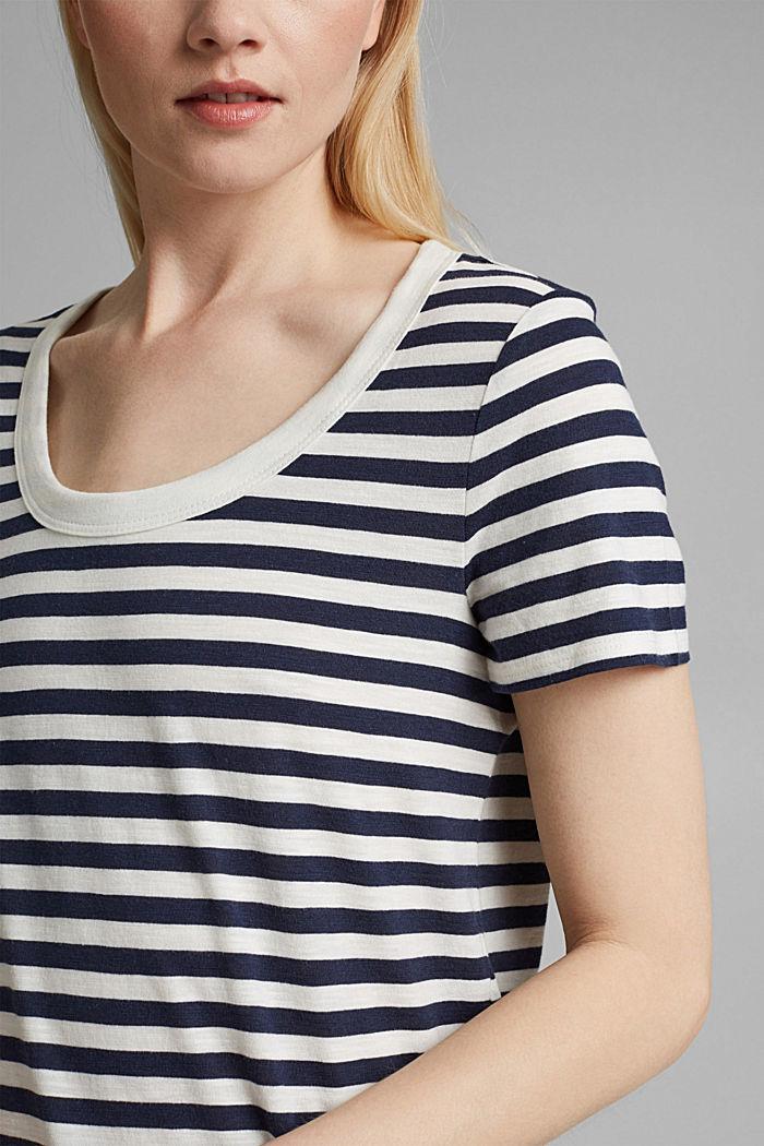 Tričko s proužky, směs bio bavlny, NAVY, detail image number 2