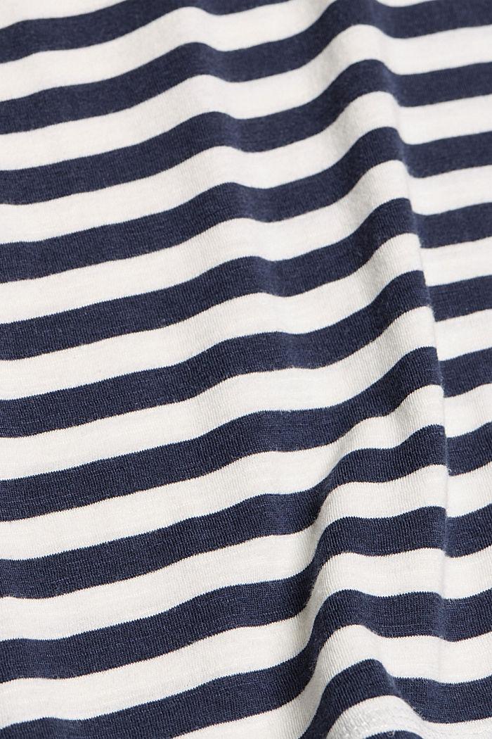 Tričko s proužky, směs bio bavlny, NAVY, detail image number 4