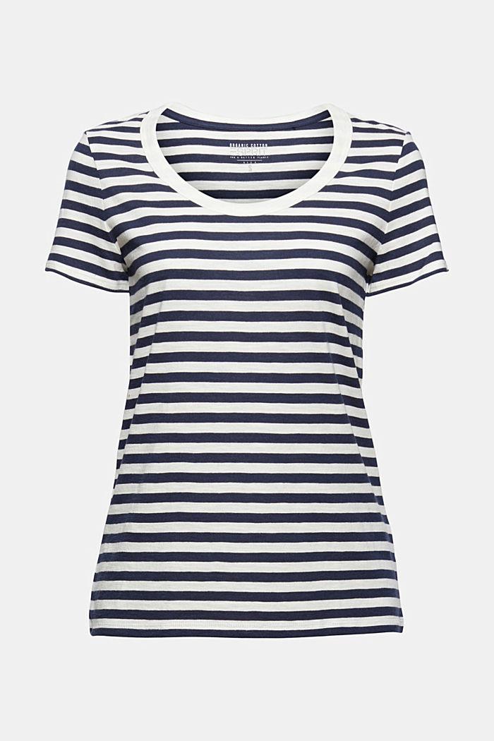 Tričko s proužky, směs bio bavlny, NAVY, detail image number 5