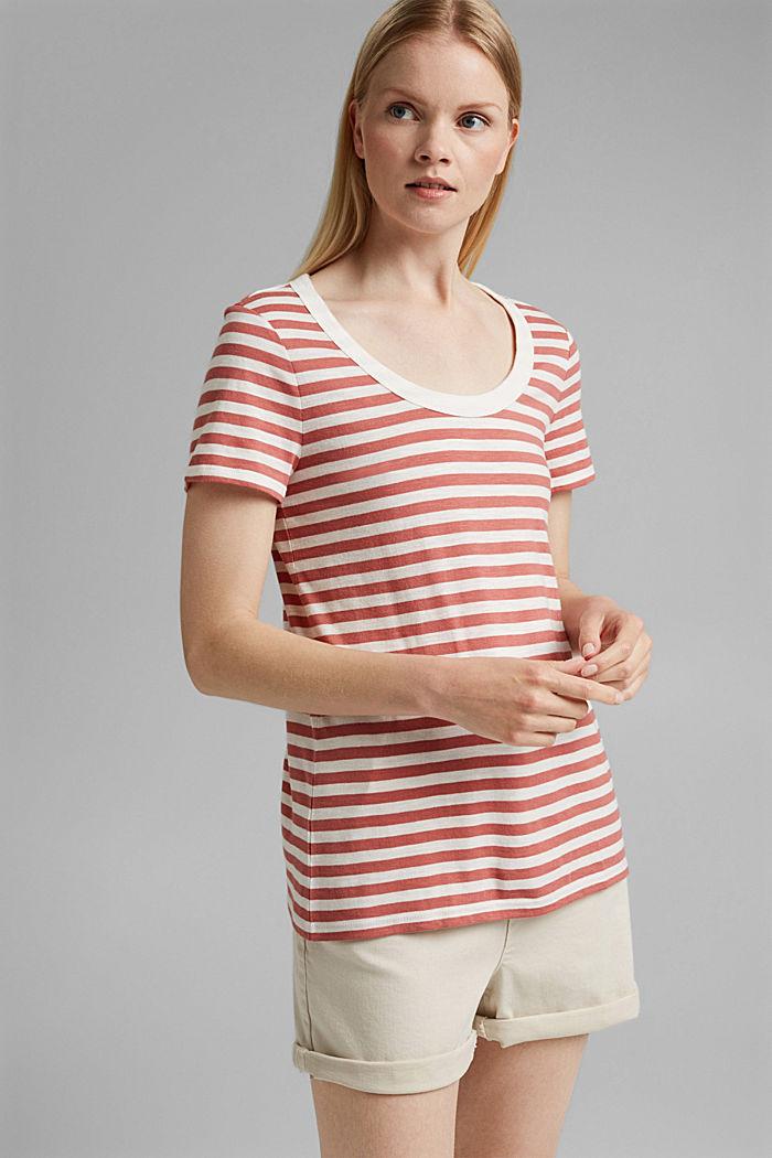 T-Shirt mit Streifen, Organic Cotton Mix, BLUSH, detail image number 0