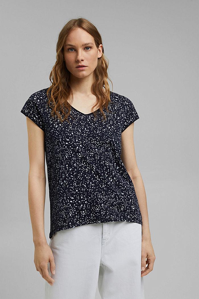 T-shirt imprimé en coton bio, NAVY, detail image number 0