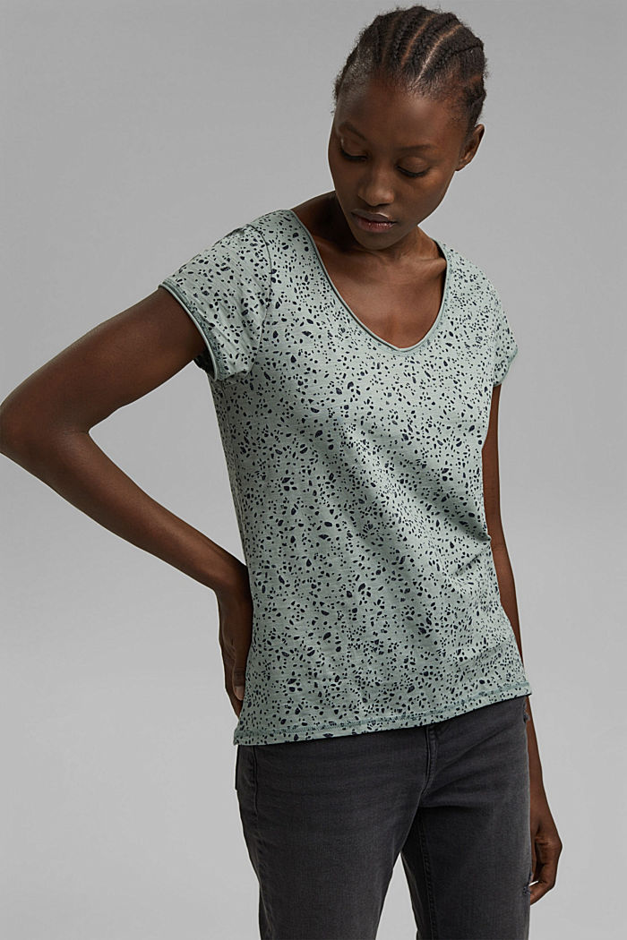 Printed T-shirt made of organic cotton, TURQUOISE, detail image number 0