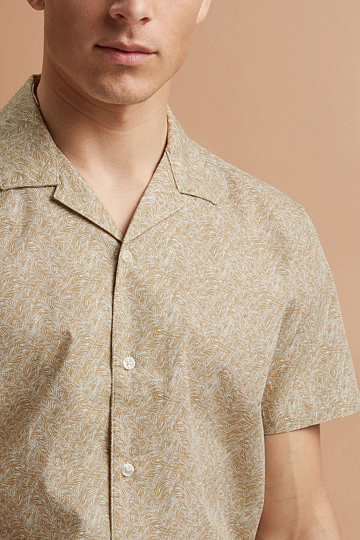 Short-sleeved shirt with print, organic cotton, BEIGE, detail image number 5