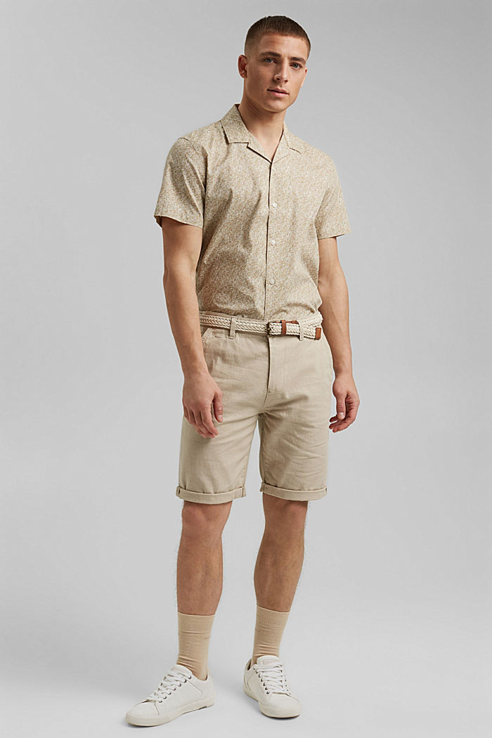Short-sleeved shirt with print, organic cotton, BEIGE, detail image number 1