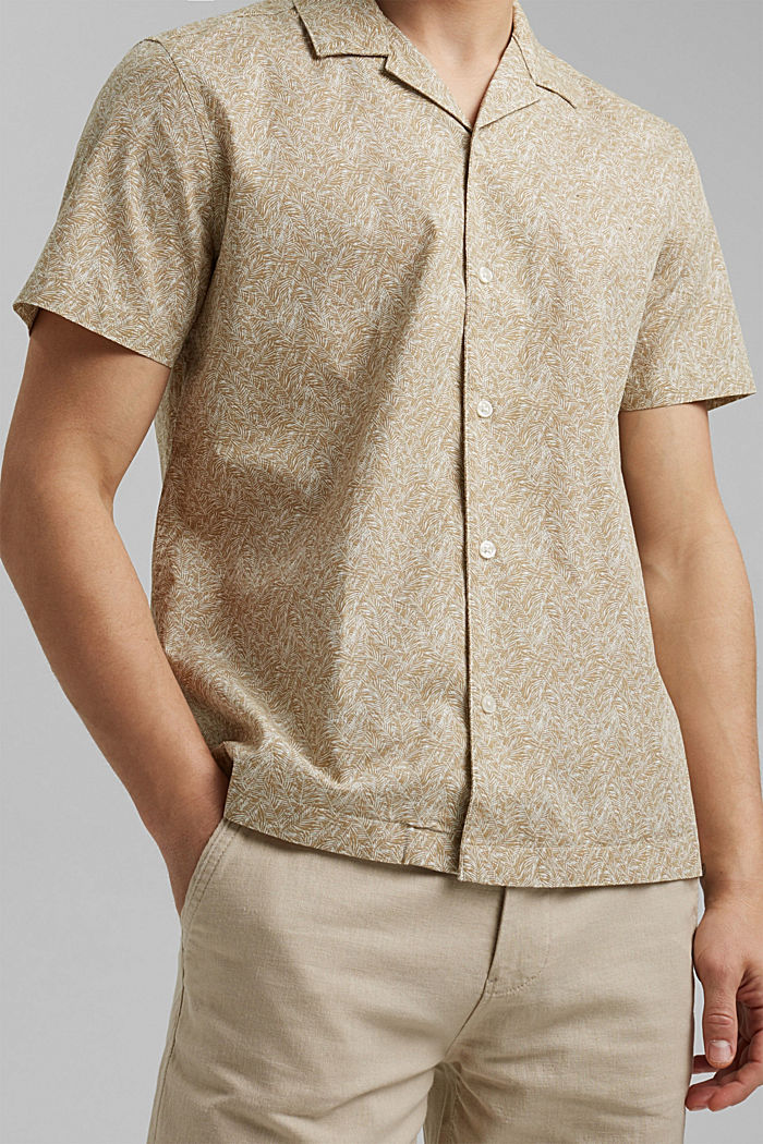 Short-sleeved shirt with print, organic cotton, BEIGE, detail image number 2