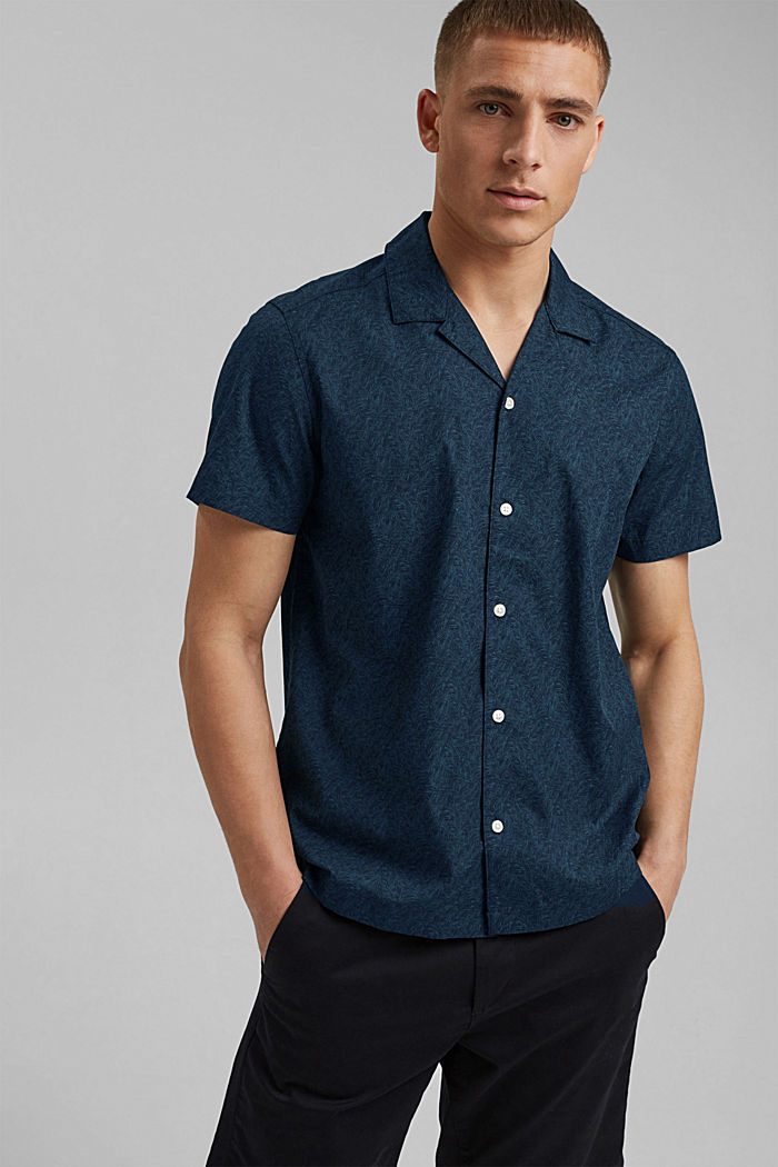 Kurzarm-Hemd mit Print, Organic Cotton, TEAL BLUE, detail image number 0