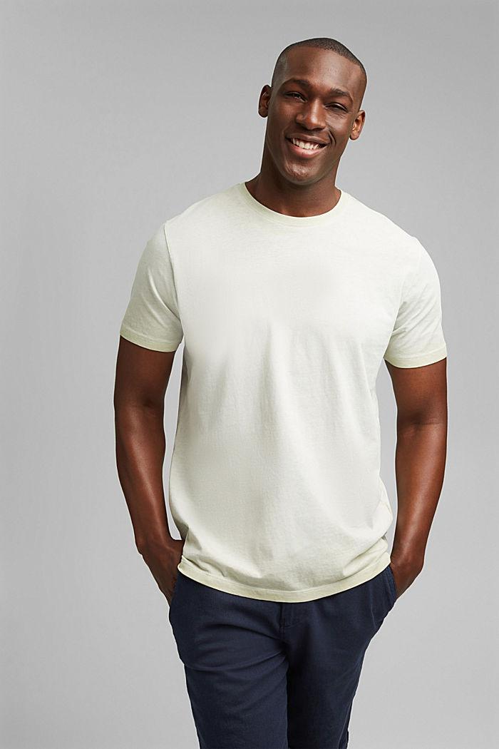 Jersey shirt met pigmentkleuring, biologisch katoen, PASTEL GREEN, detail image number 0