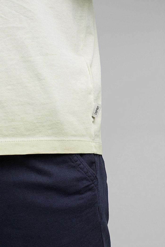 Jersey shirt met pigmentkleuring, biologisch katoen, PASTEL GREEN, detail image number 1