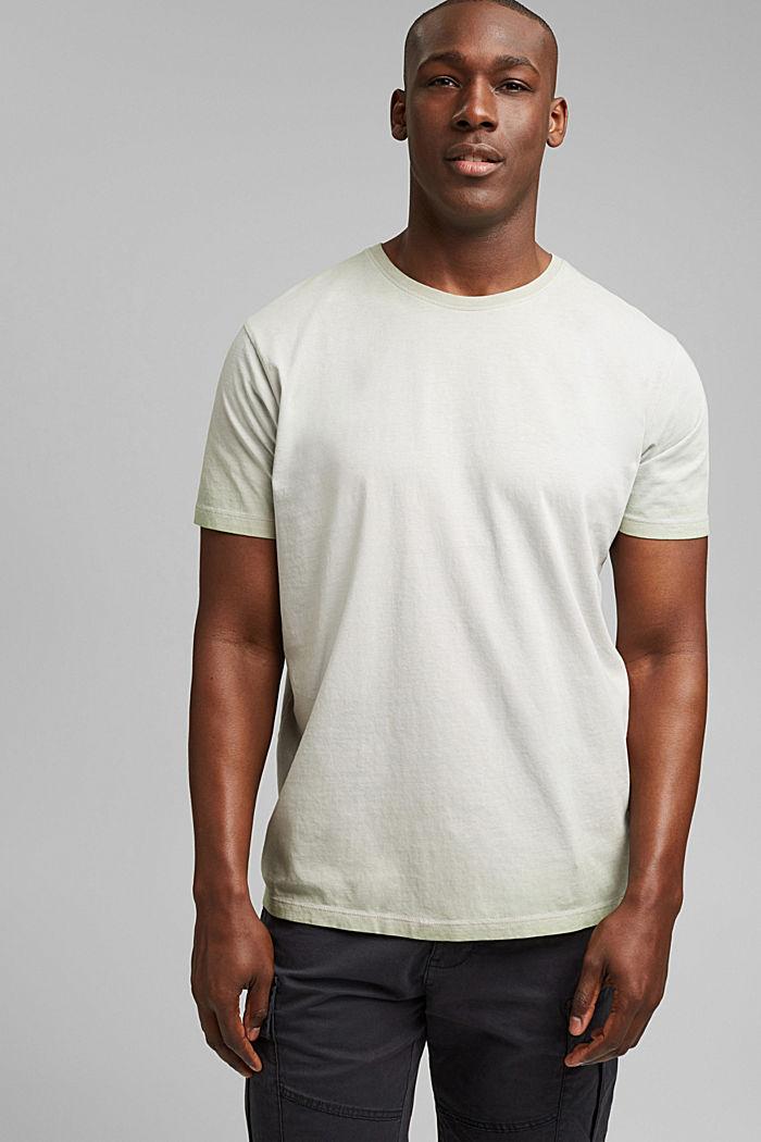 Jersey shirt met pigmentkleuring, biologisch katoen, TEAL GREEN, detail image number 0