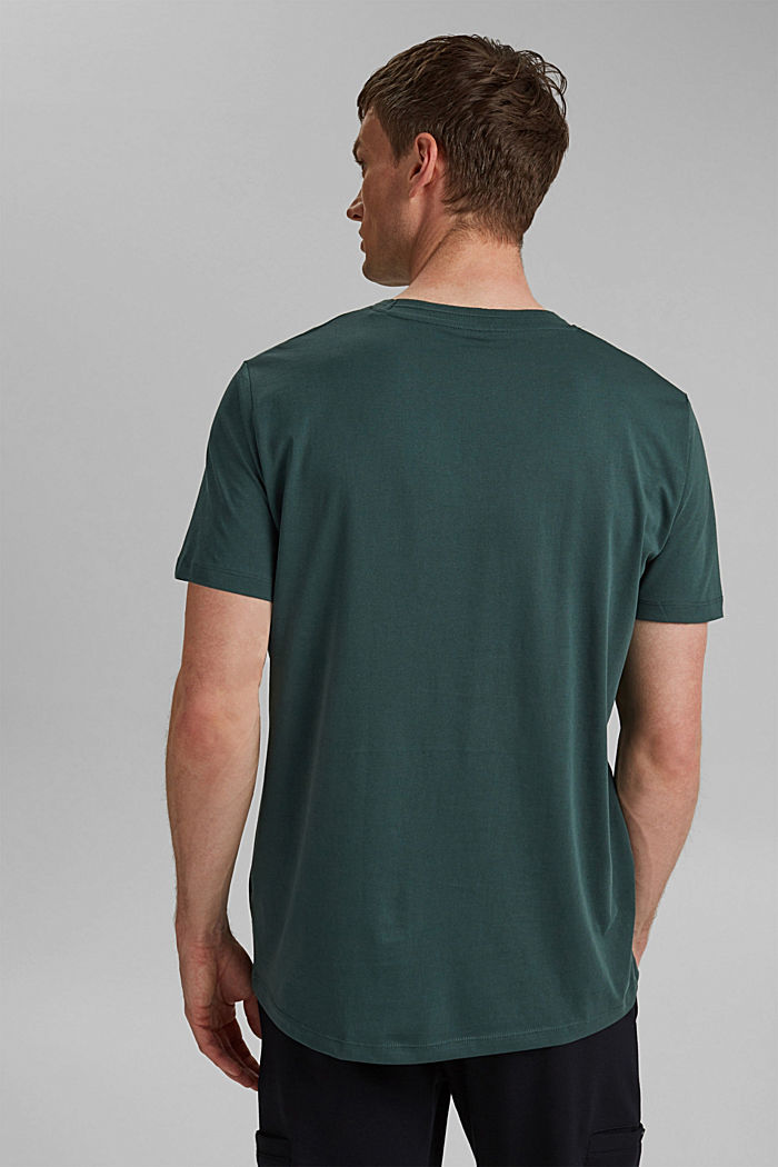 Jersey T-shirt met zak, 100% biologisch katoen, TEAL BLUE, detail image number 3