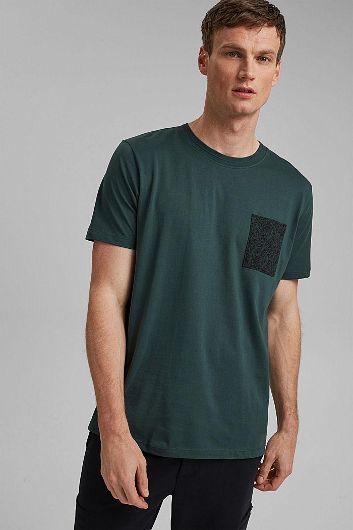 Jersey T-shirt met zak, 100% biologisch katoen, TEAL BLUE, detail image number 4