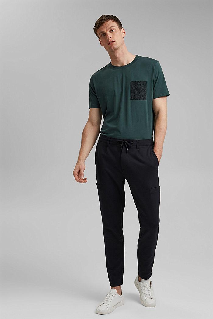 Jersey T-shirt met zak, 100% biologisch katoen, TEAL BLUE, detail image number 7