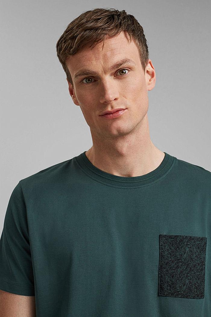 Jersey T-shirt met zak, 100% biologisch katoen, TEAL BLUE, detail image number 6