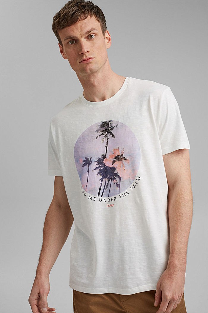 Jersey T-shirt with a print, 100% organic cotton, OFF WHITE, detail image number 0