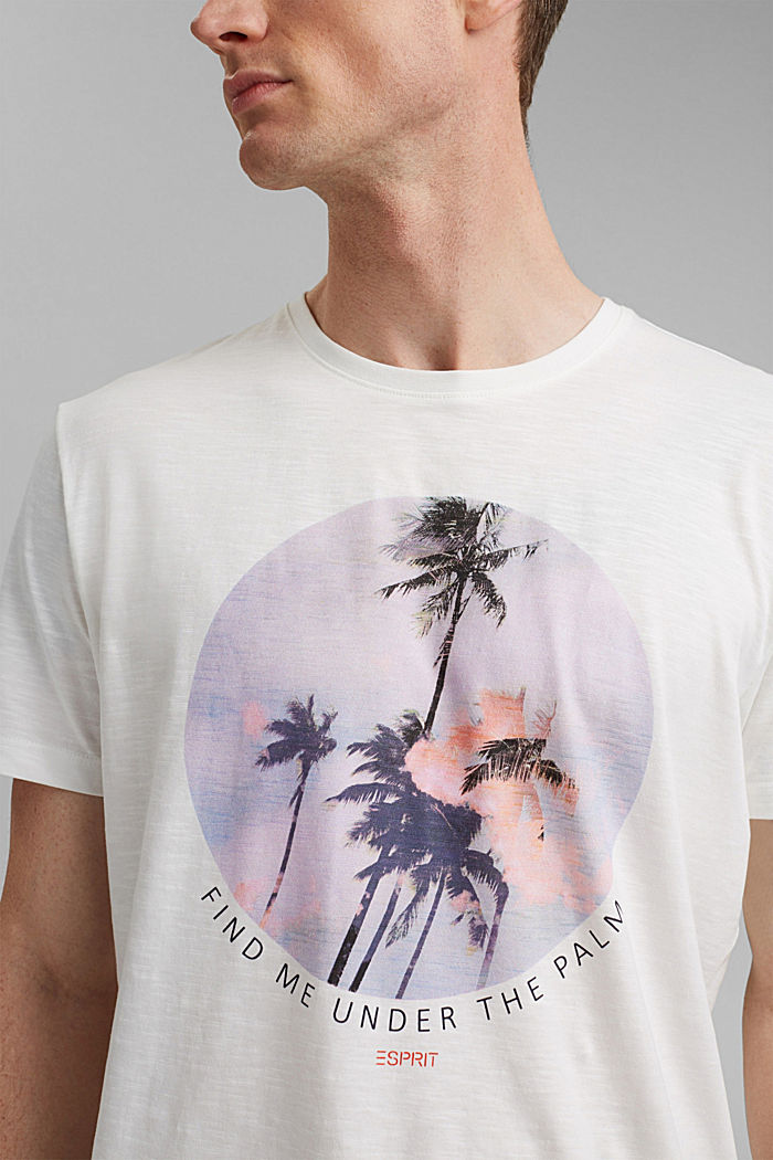 Jersey T-shirt with a print, 100% organic cotton, OFF WHITE, detail image number 1