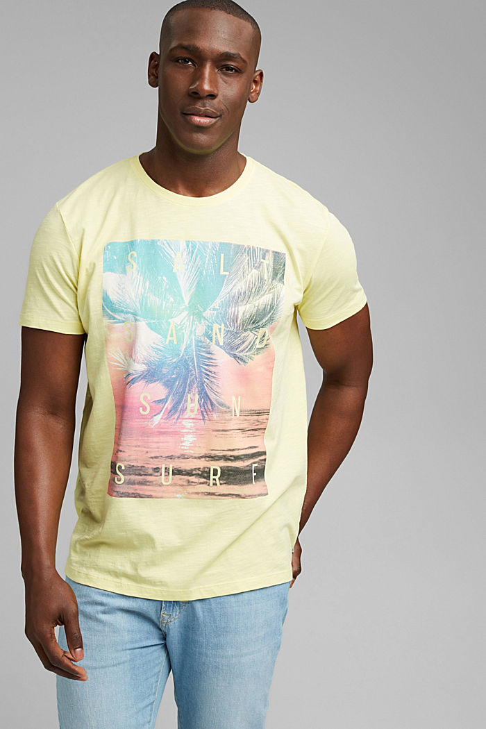 Jersey T-shirt met print, 100% biologisch katoen, LIGHT YELLOW, detail image number 0