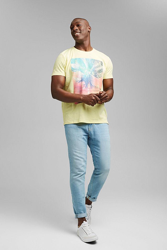 Jersey T-shirt met print, 100% biologisch katoen, LIGHT YELLOW, detail image number 2